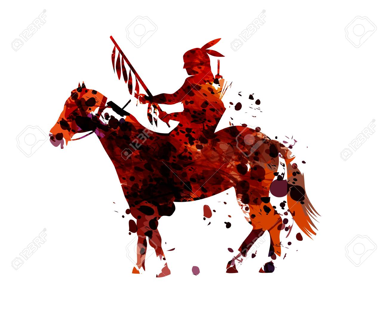 Vector watercolor silhouette of an american indian - 93777219