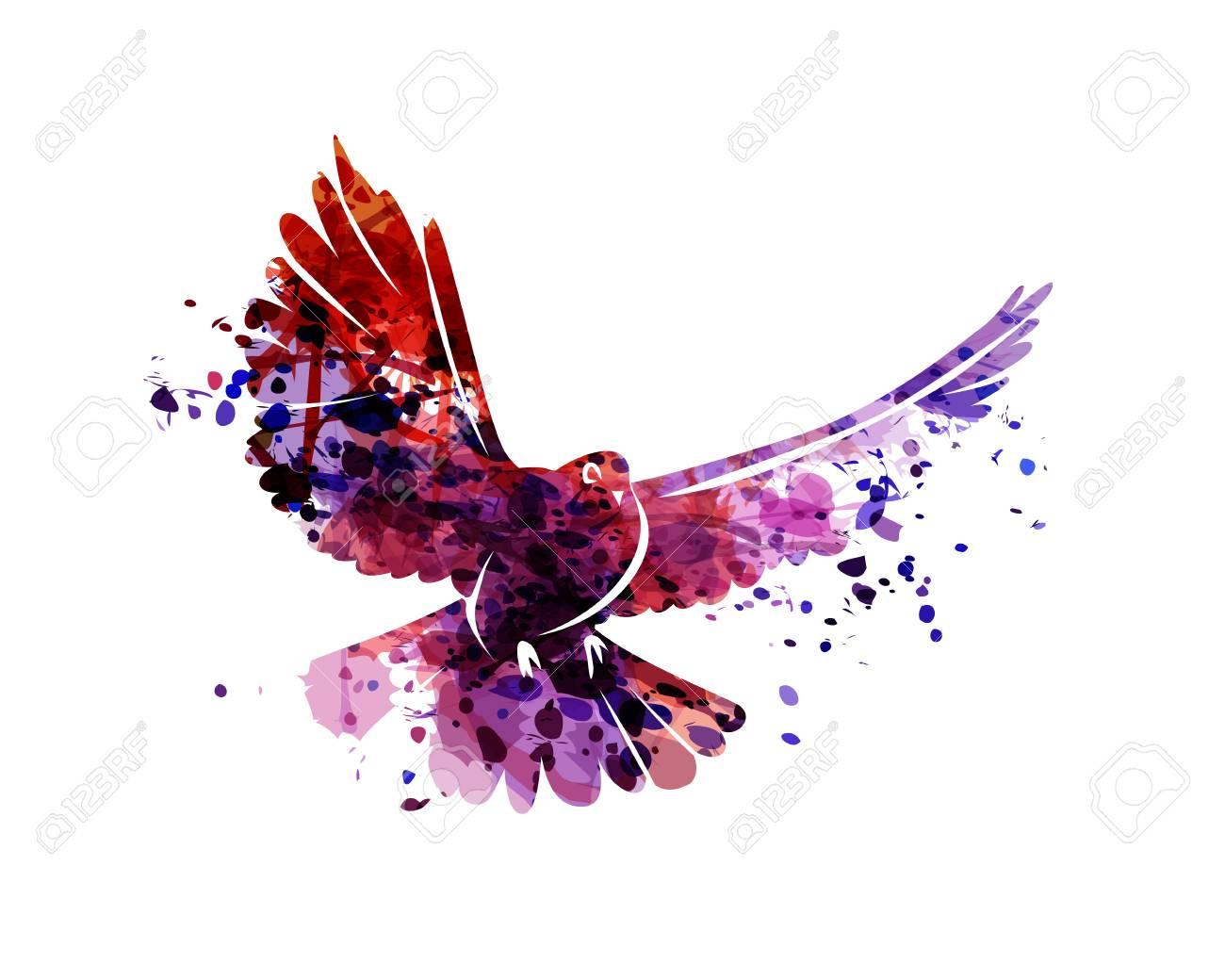 Vector watercolor silhouette dove - 93777223