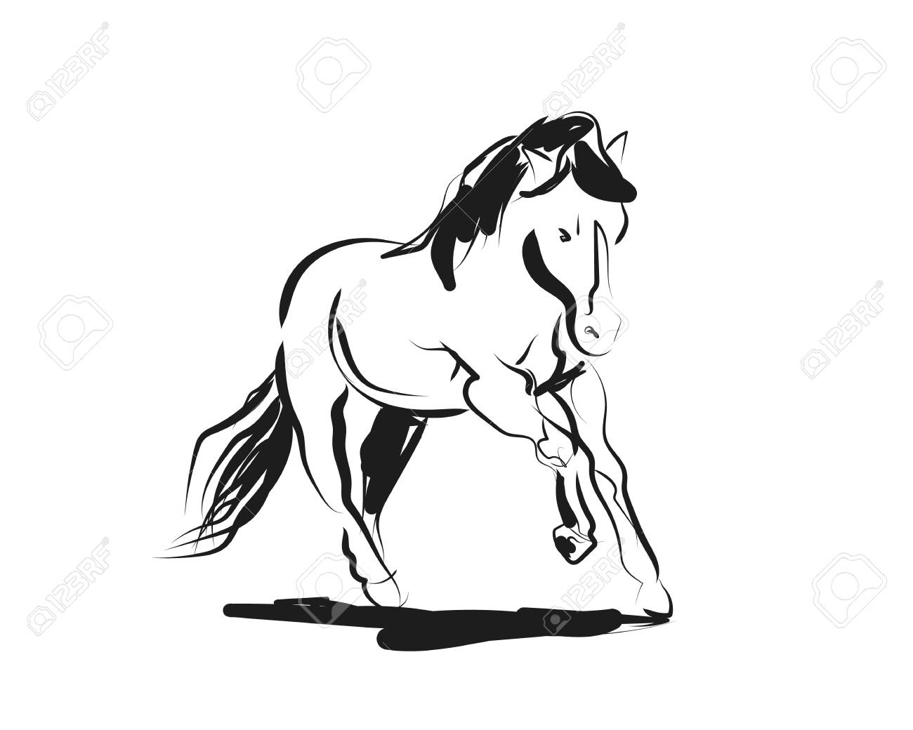 Vector Ink Sketch Of A Running Horse Royalty Free Cliparts Vectors And Stock Illustration Image 106905839