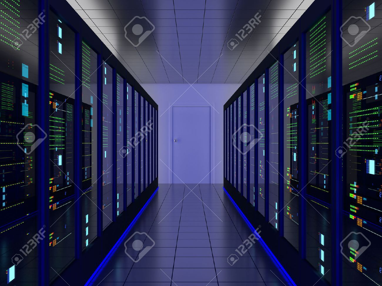 stock photo symmetrical server room colocation or colo with server cabinets on two sides - Free Colo