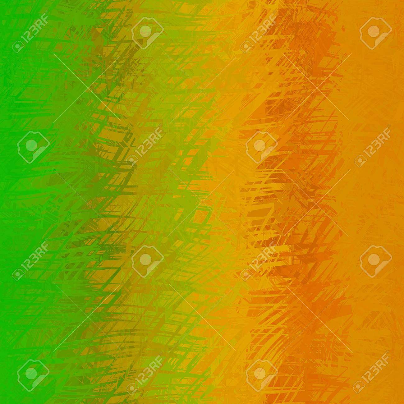 Orange Green Abstract Texture With Random Brush Strokes Background
