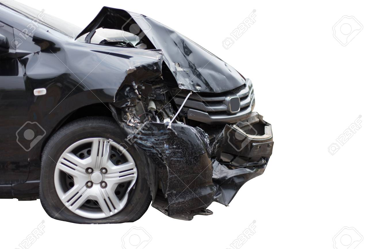 Autounfall Unfall Beschädigt Autos, Isolieren Auf Weißem Hintergrund ...