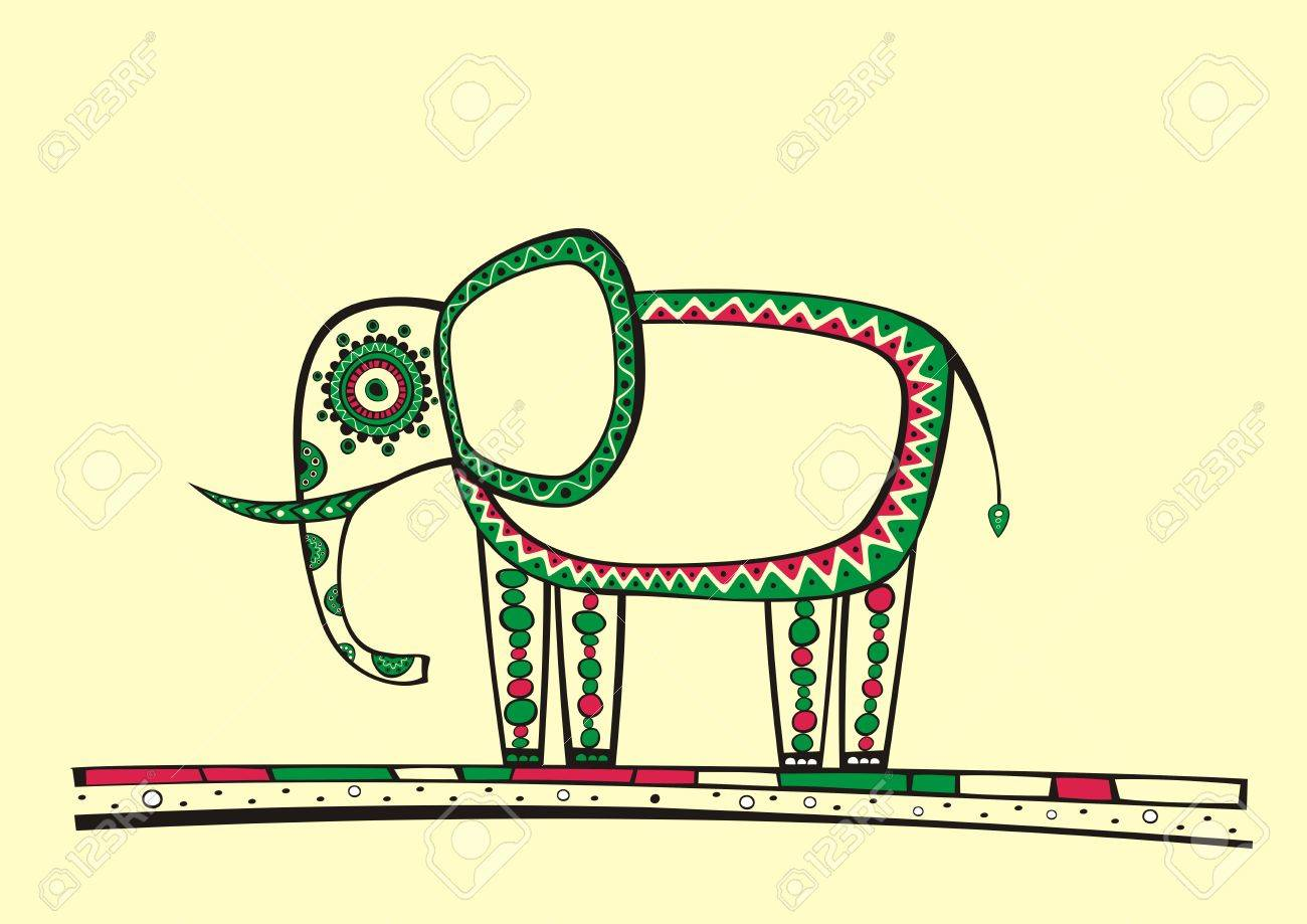 Illustration of elephant, produced in ethno style with the unique colour Stock Vector - 12233089