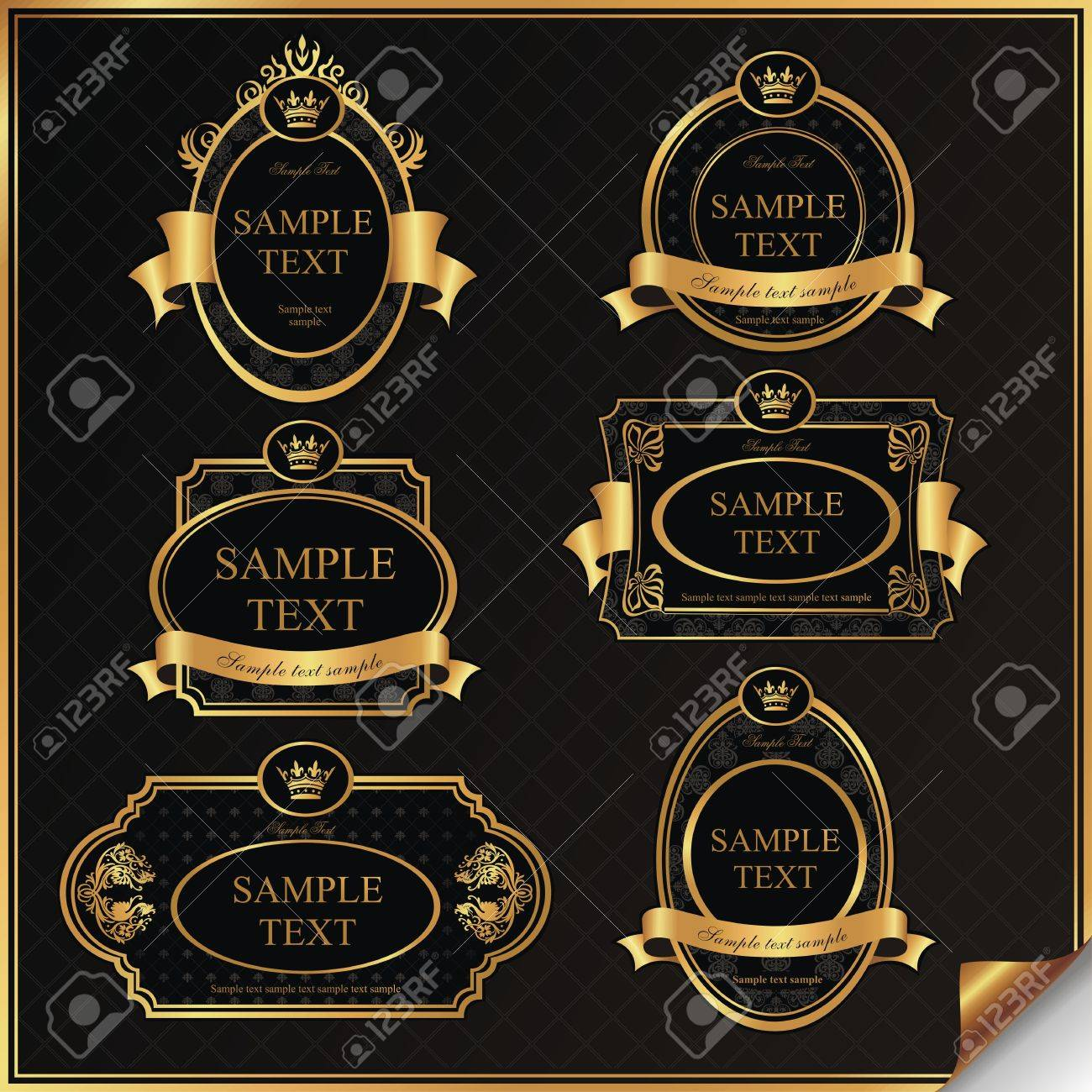 4679dd20b8b Set Of Black Gold-framed Labels In Vector Royalty Free Cliparts ...