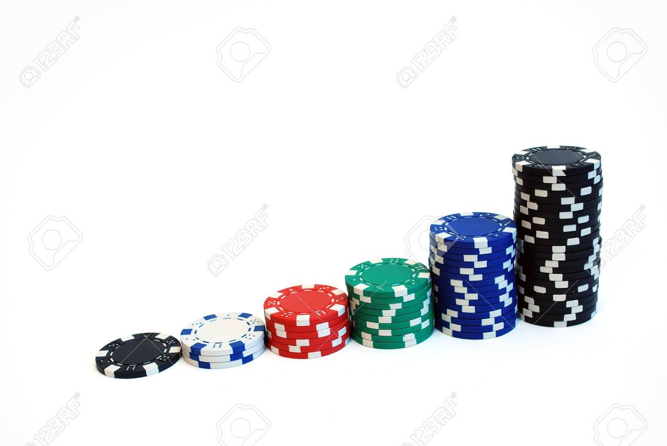 isolated close up of casino chips on white background - 6245984