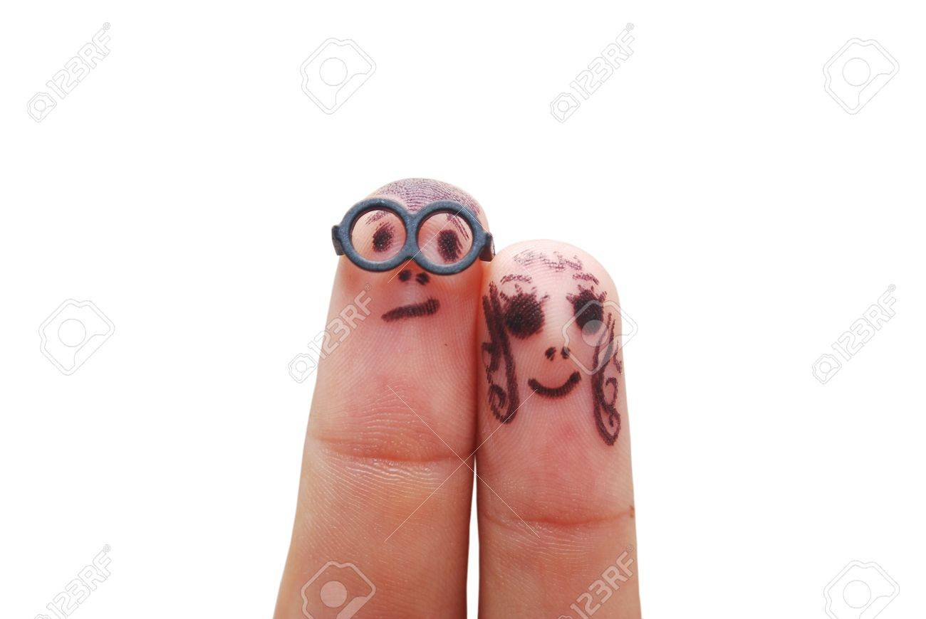 Fingers with eyes representing funny figures isolated on white - 7334109