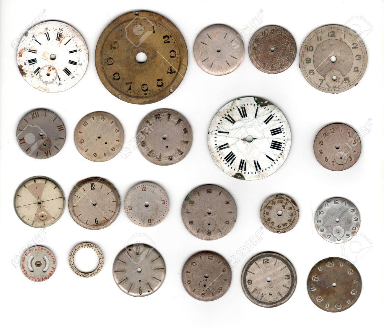 many vintage pocket watch dial only over white background - 8070099