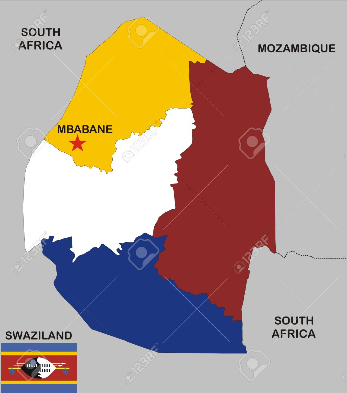Political Map Of Swaziland Country With Flag And Regions Stock Photo