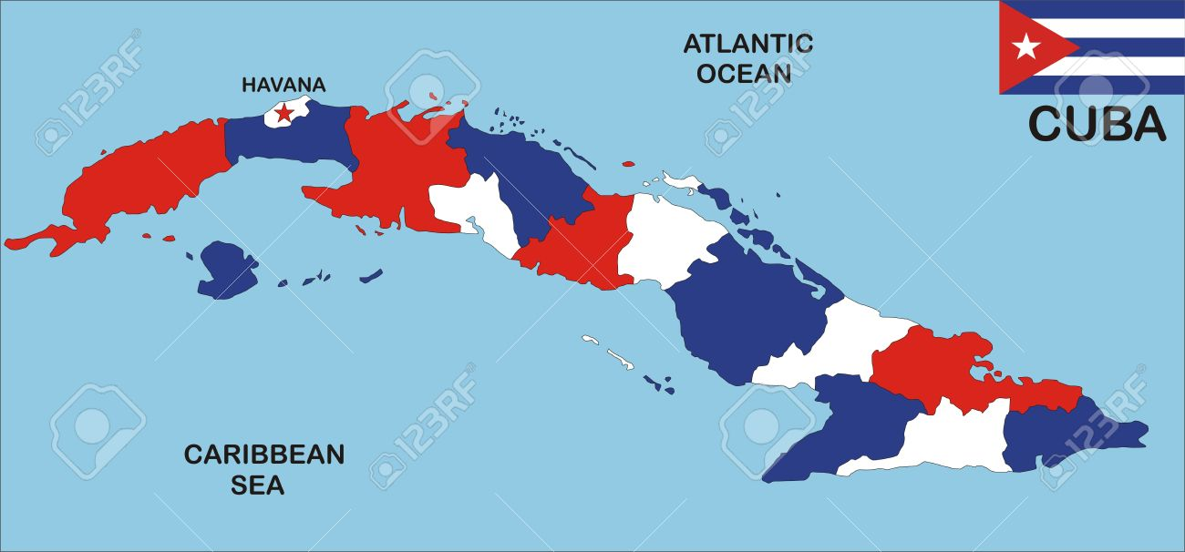 Political Map Of Cuba Country With Neighbours And National Flag - Political map of cuba