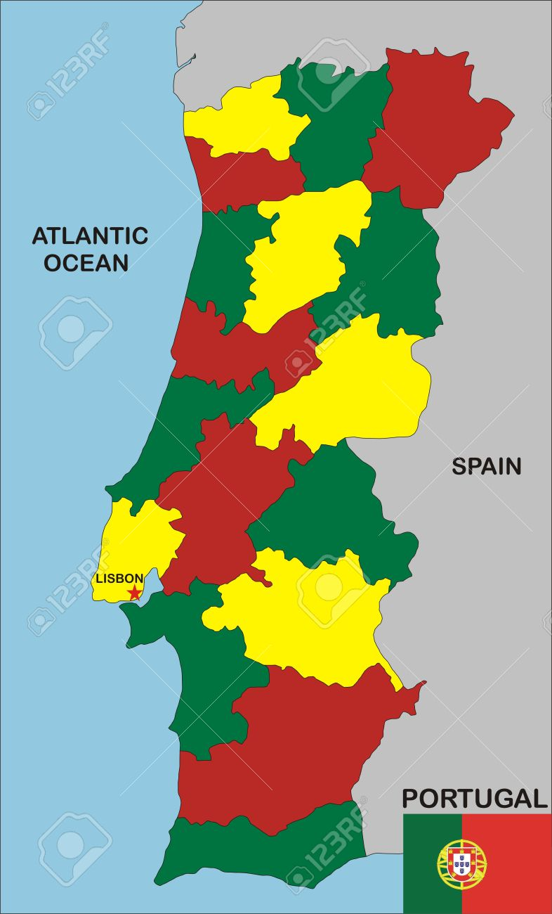 Political Map Of Portugal Country With Neighbours And National