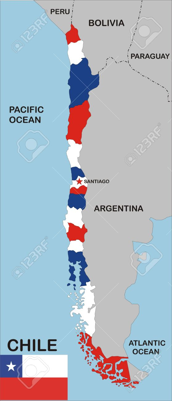 Political Map Of Chile Country With Neighbors And National Flag - Map of chile