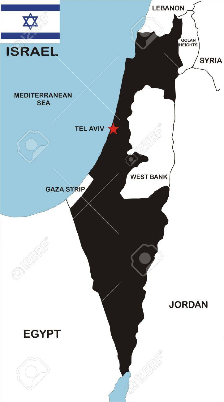 political map of israel country with neighbors and national flag Stock Photo - 8990755