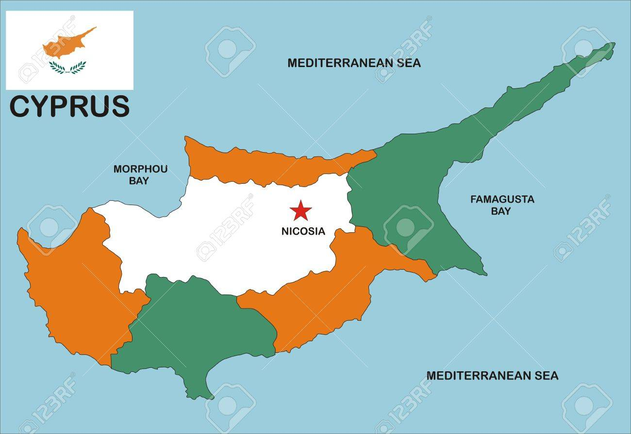 Political Map Of Cyprus Country With Neighbors And National Flag