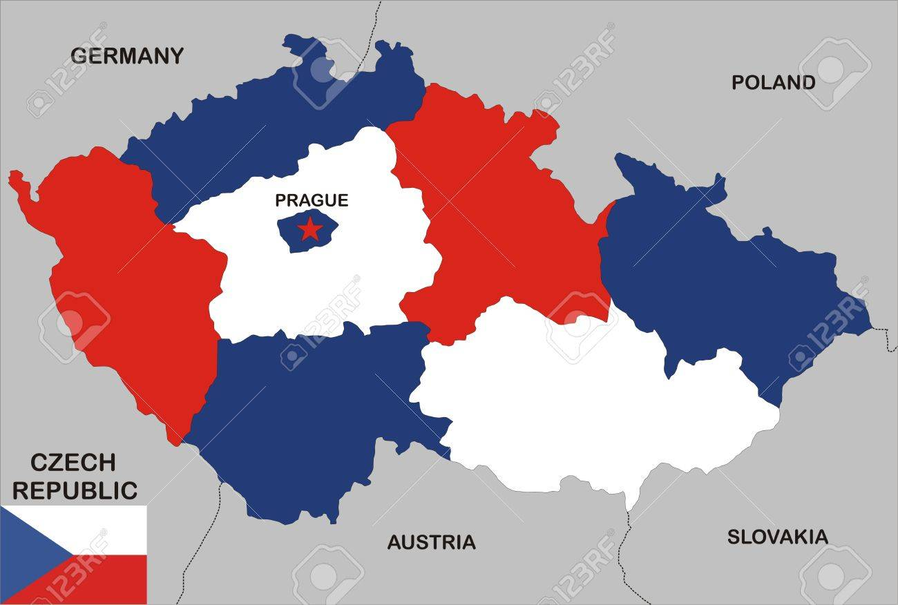 political map of czech republic country with neighbors and national flag Stock Photo - 8923058