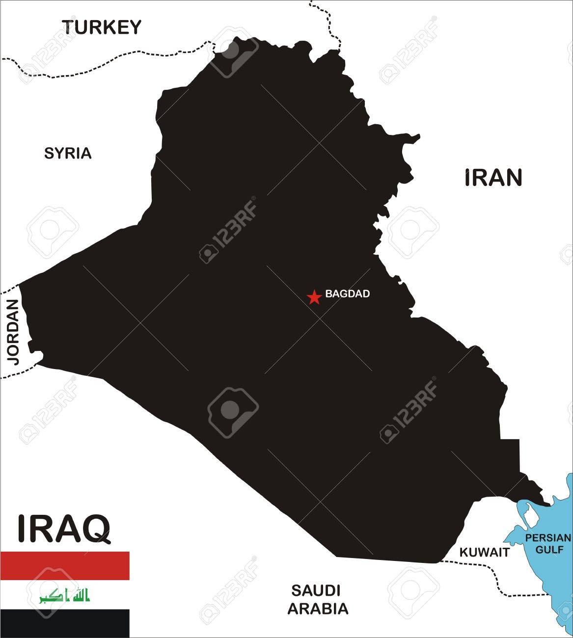 political map of iraq country with neighbors and national flag Stock Photo - 8923056
