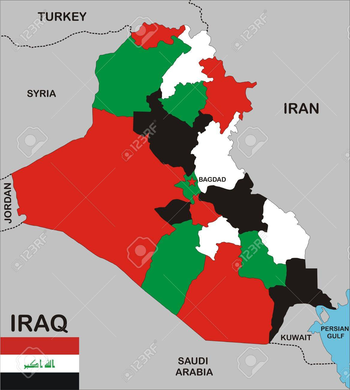 Political map of iraq country with neighbors and national flag political map of iraq country with neighbors and national flag stock photo 8923059 gumiabroncs Choice Image