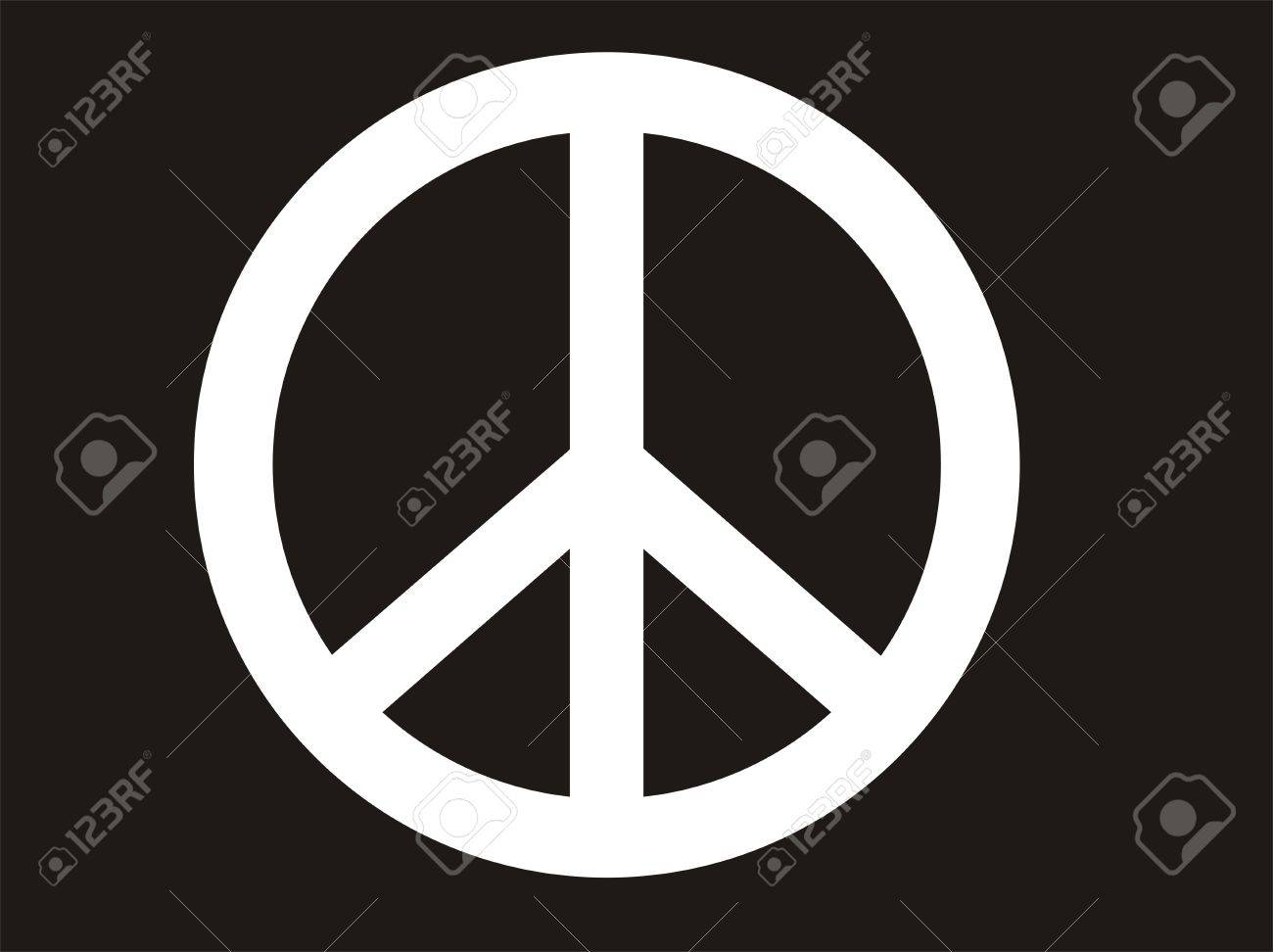 Traditional Illustration Of Peace Symbol In Black And White Image