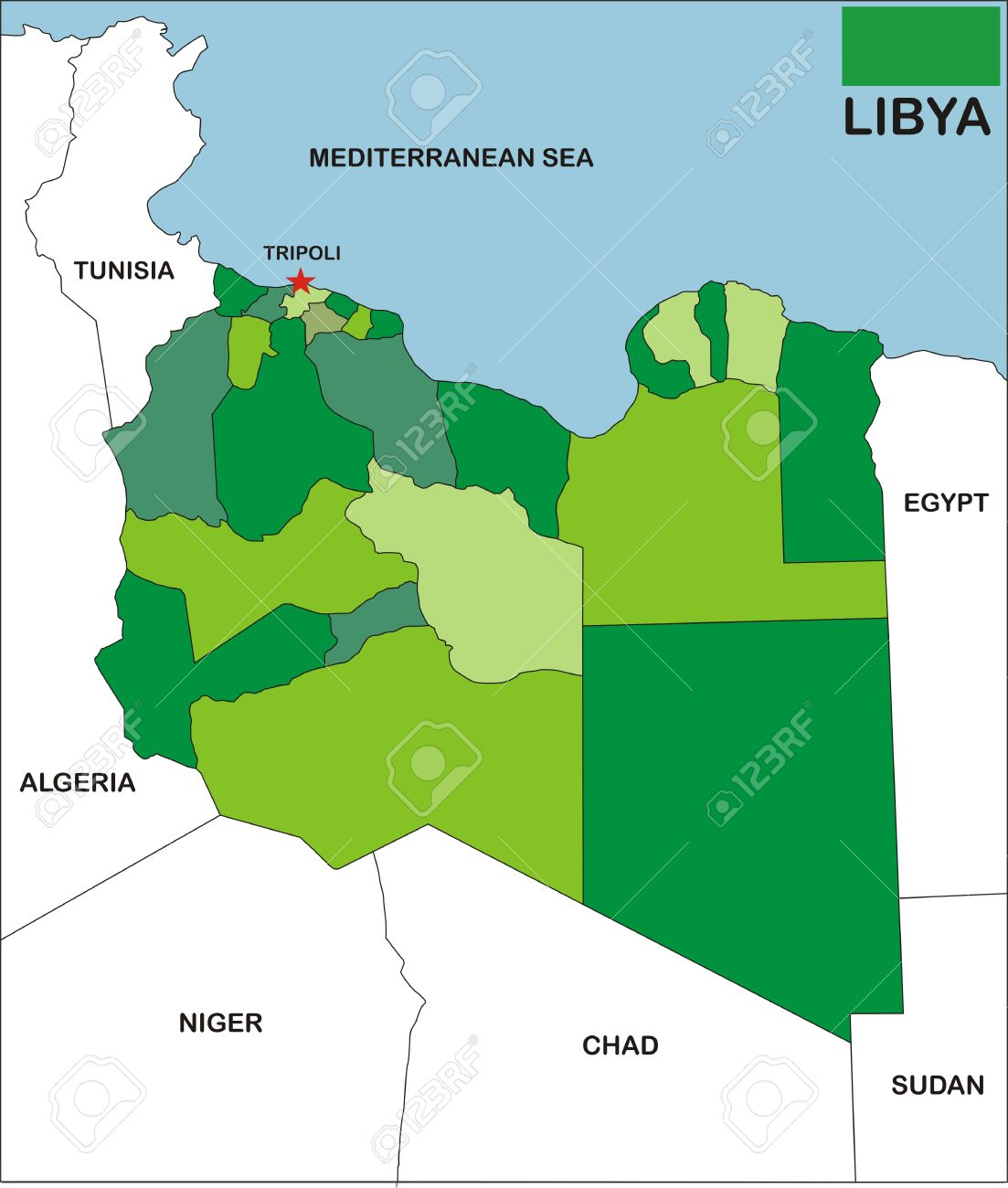 Political Map Of Libya Country With Neighbors And National Flag - Tunisia country political map