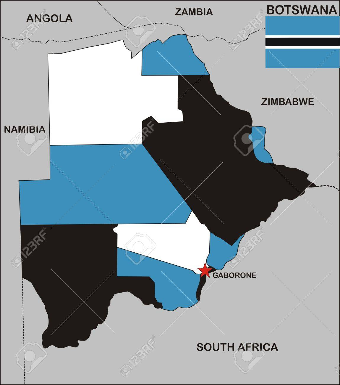 Botswana Political Map.Political Map Of Botswana Country With Flag Illustration Stock Photo