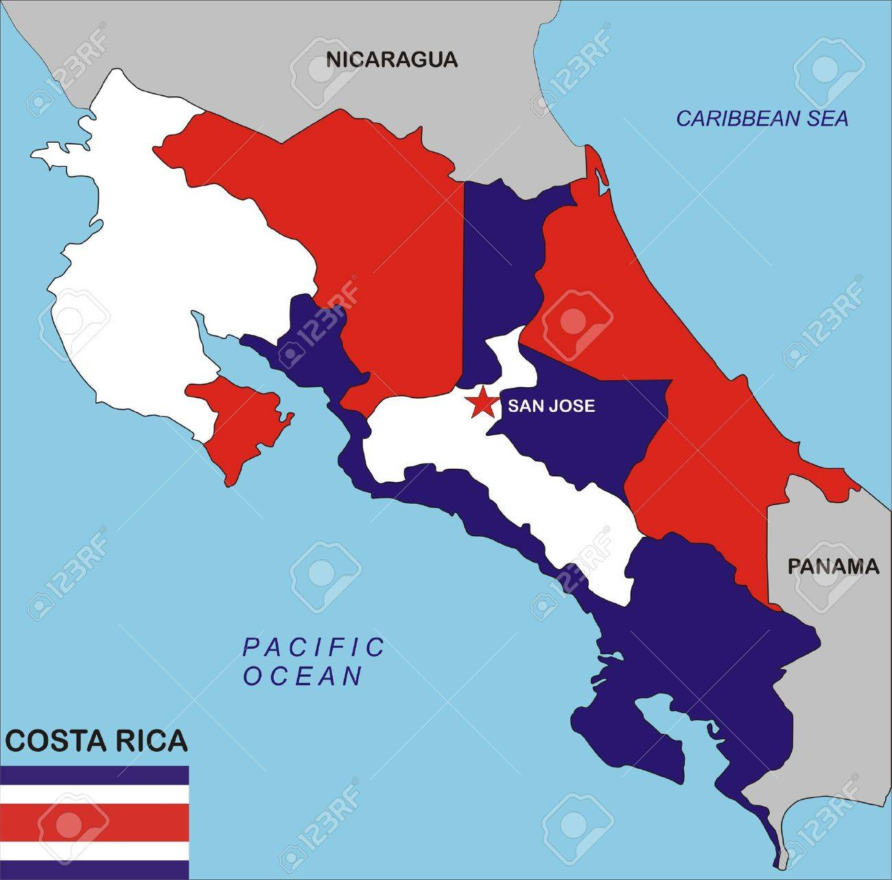 Costa Rica Country Map MAP - County map of costa rica
