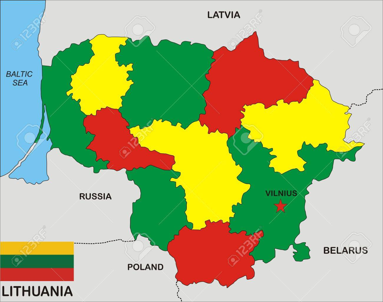 Political Map Of Lithuania Country With Flag Illustration Stock