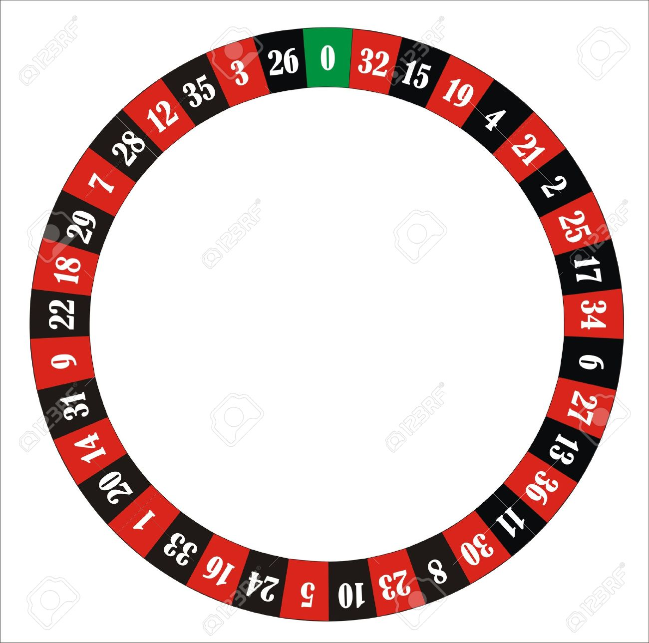 computer generated roulette wheel with numbers and colours - 10454910