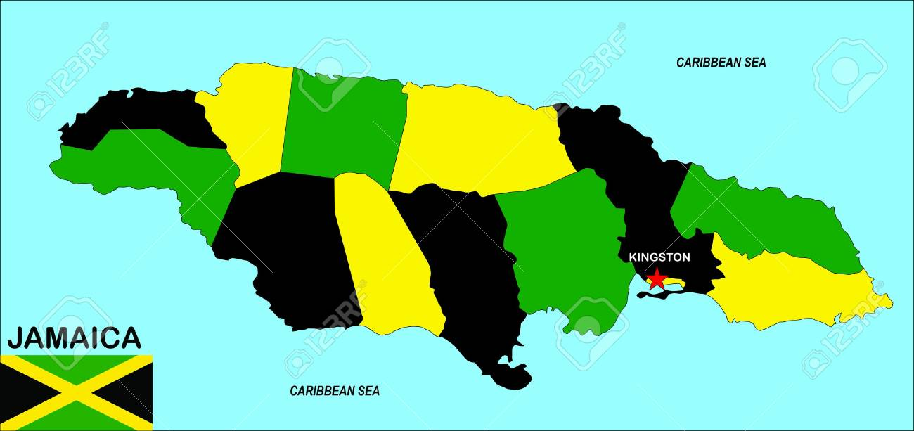 Very Big Size Jamaica Political Map Illustration Stock Photo
