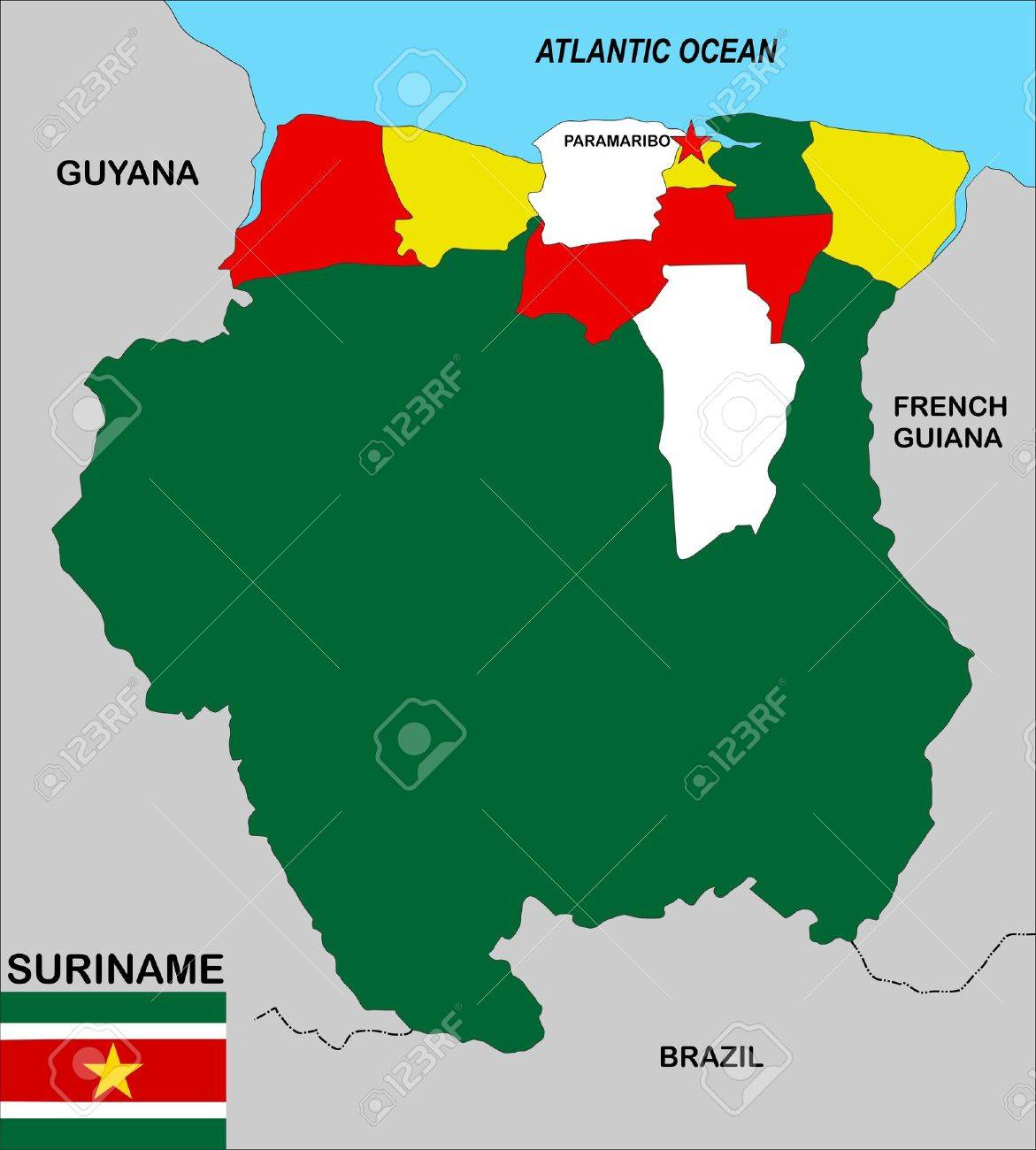 Very Big Size Suriname Political Map Illustration Stock Photo