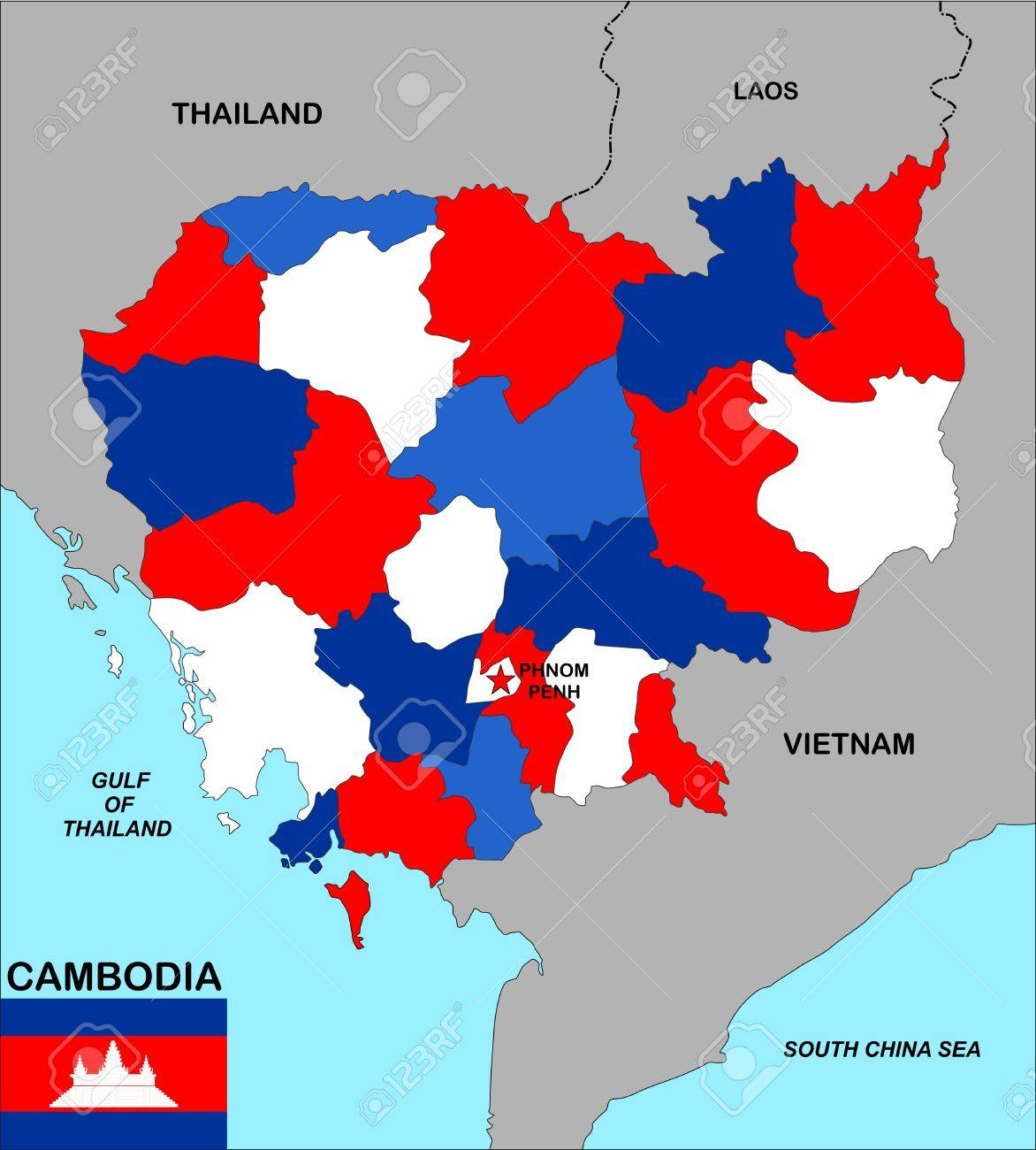 Big Size Political Map Of Cambodia With Flag Stock Photo Picture