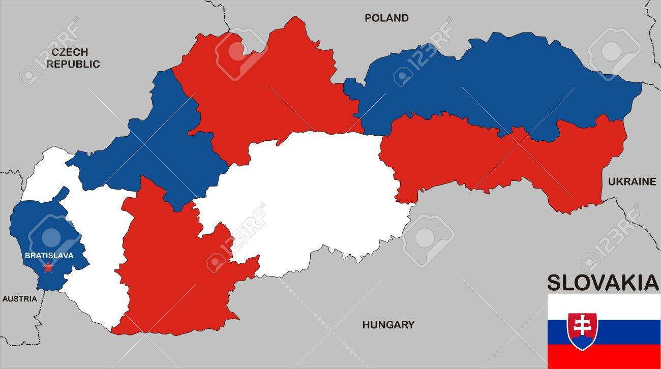 Very Big Size Slovakia Political Map With Flag Stock Photo Picture
