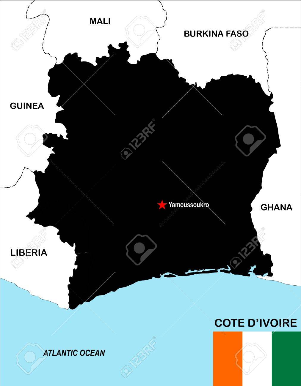 Big Size Political Map Of Cote D Ivoire With Flag Stock Photo