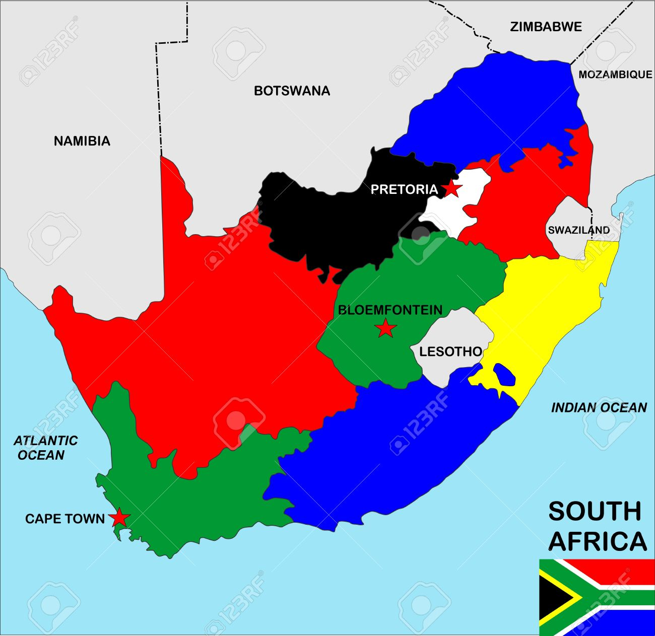 Big Size Political Map Of South Africa With Flag Stock Photo