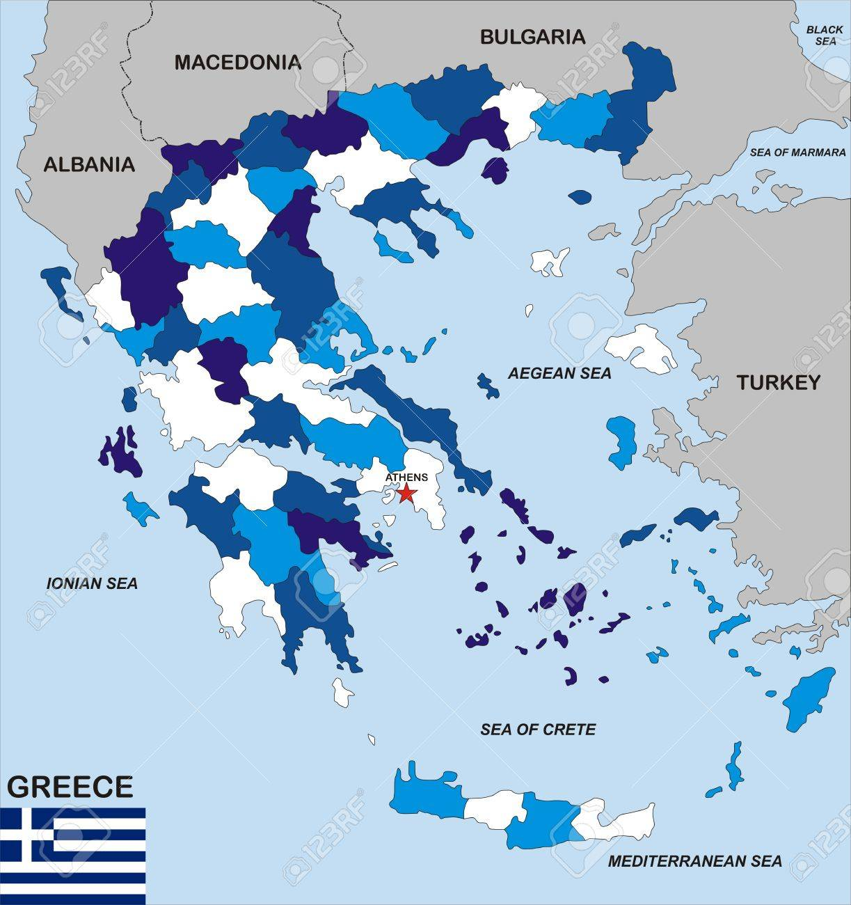 Very Big Size Political Map Of Greece With Flag Stock Photo - Political map of greece