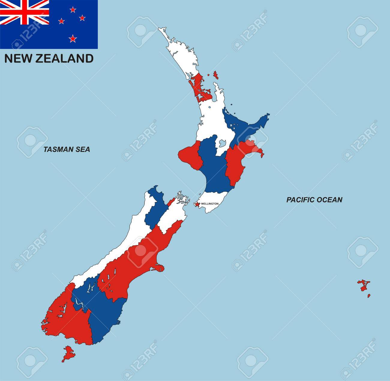 Political Map Of New Zealand.Very Big Size Political Map Of New Zealand With Flag Stock Photo