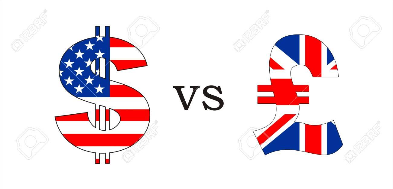 Usa Dollar Versus British Pound Money Symbols Illustration Stock