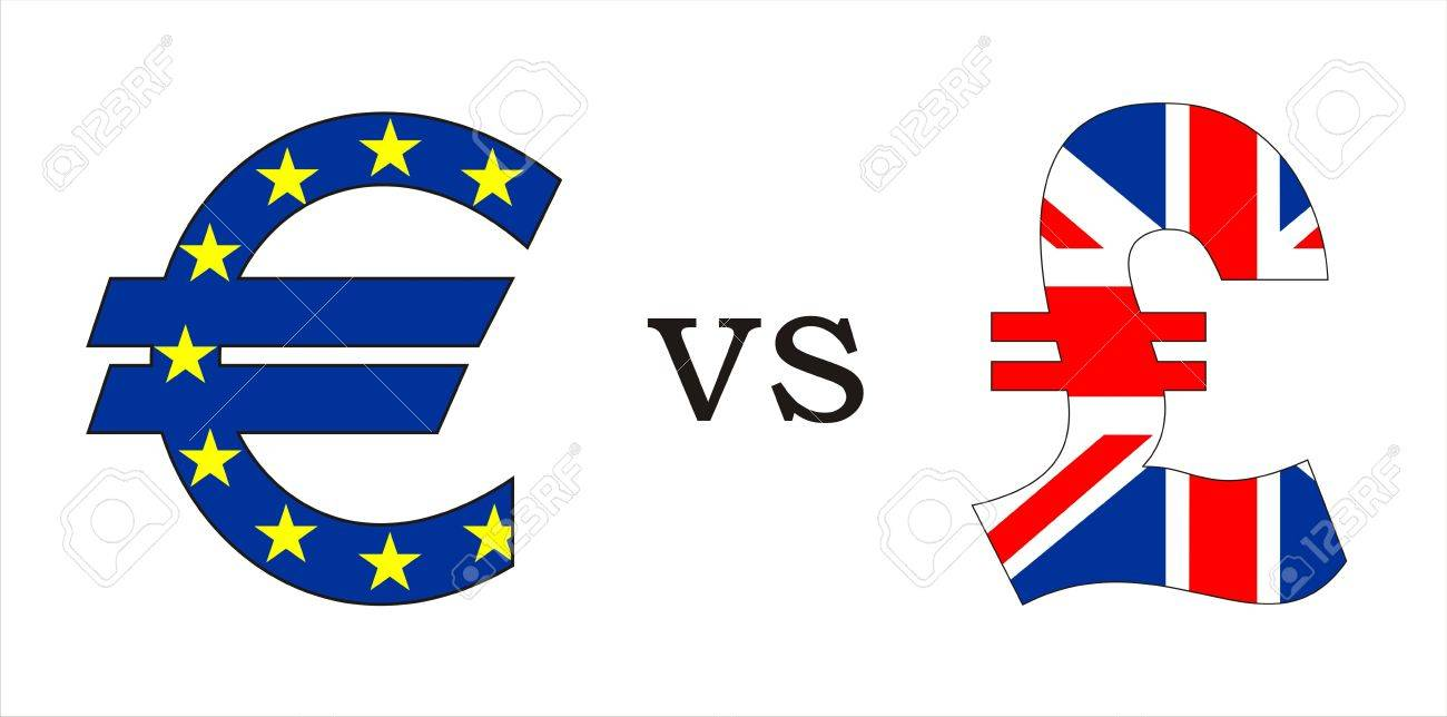 European Euro Versus British Pound Money Symbols Illustration Stock