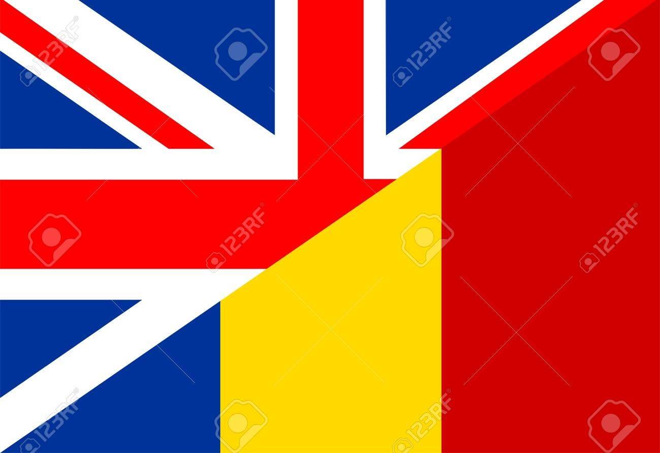 Very Big Size Half United Kingdom Half Romania Flag Stock Photo ...