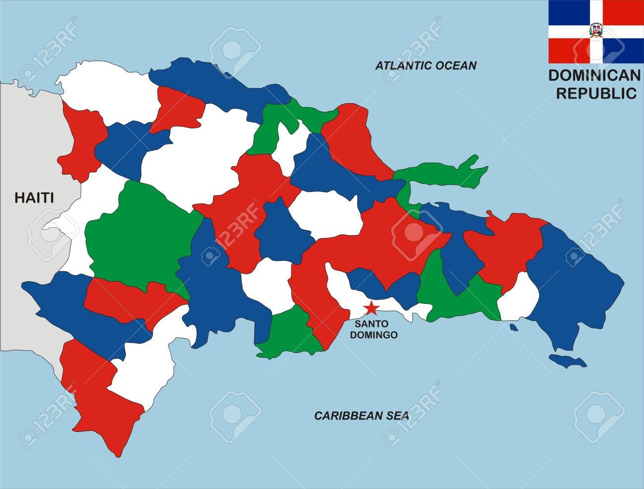 Very Big Size Dominican Republic Political Map With Flag Stock Photo