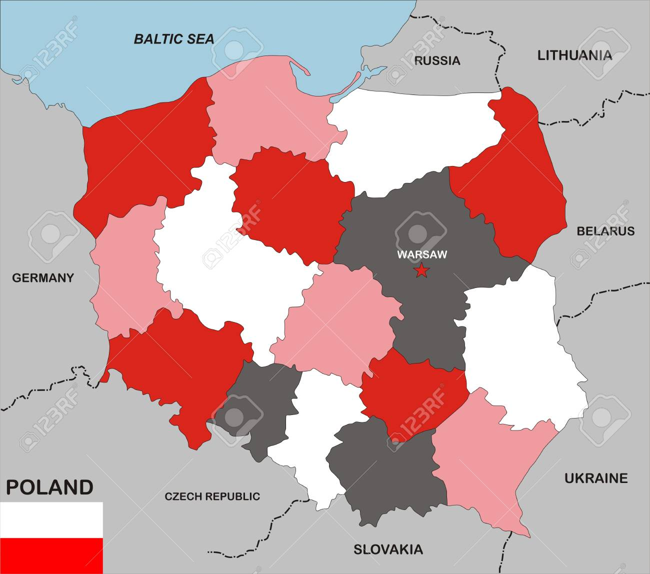 Very Big Size Poland Political Map With Flag Stock Photo Picture - Poland political map