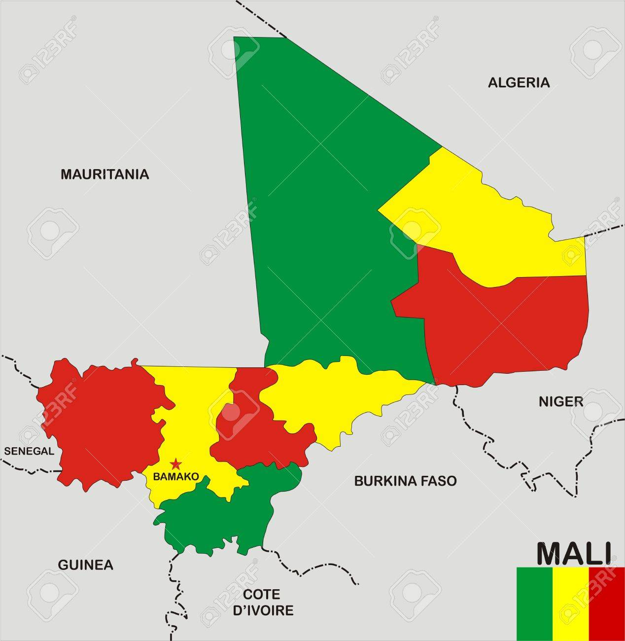 Very Big Size Mali Political Map With Flag Stock Photo, Picture And ...