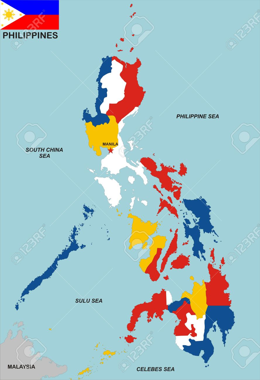 Very Big Size Philippines Political Map With Flag Stock Photo