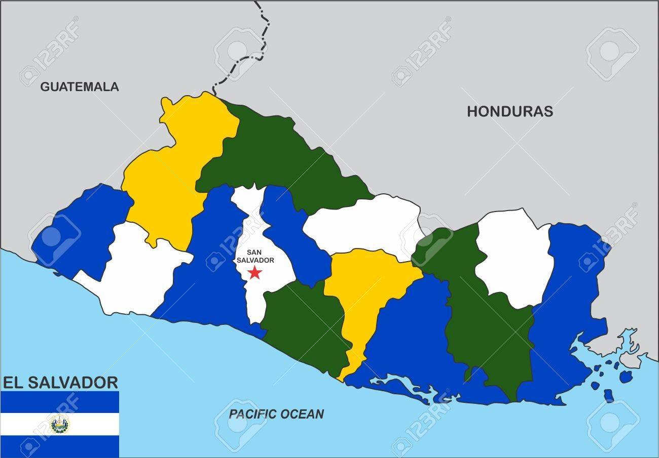 Very Big Size El Salvador Political Map Illustration Stock Photo ...