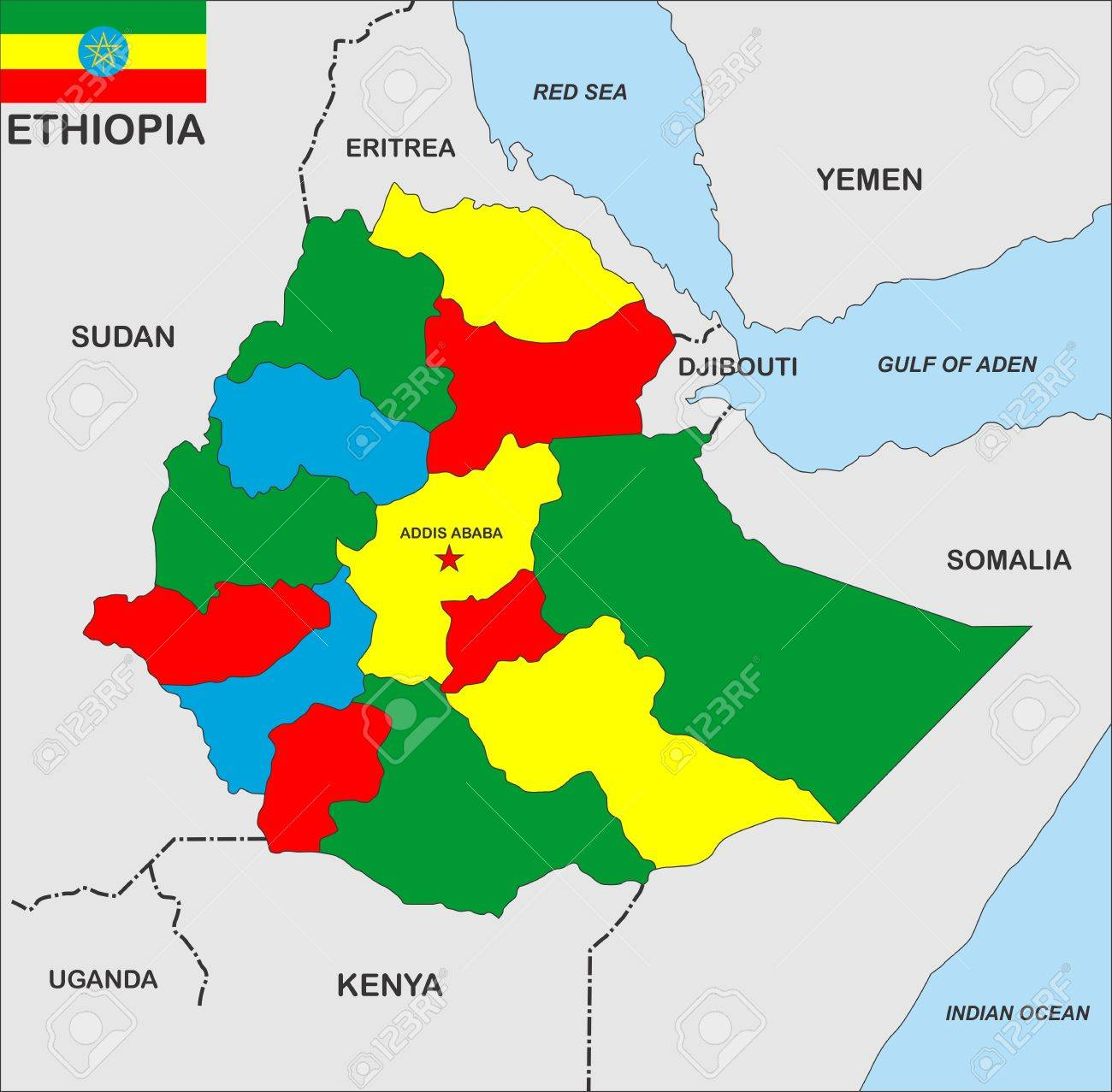 Very Big Size Ethiopia Country Political Map Stock Photo Picture