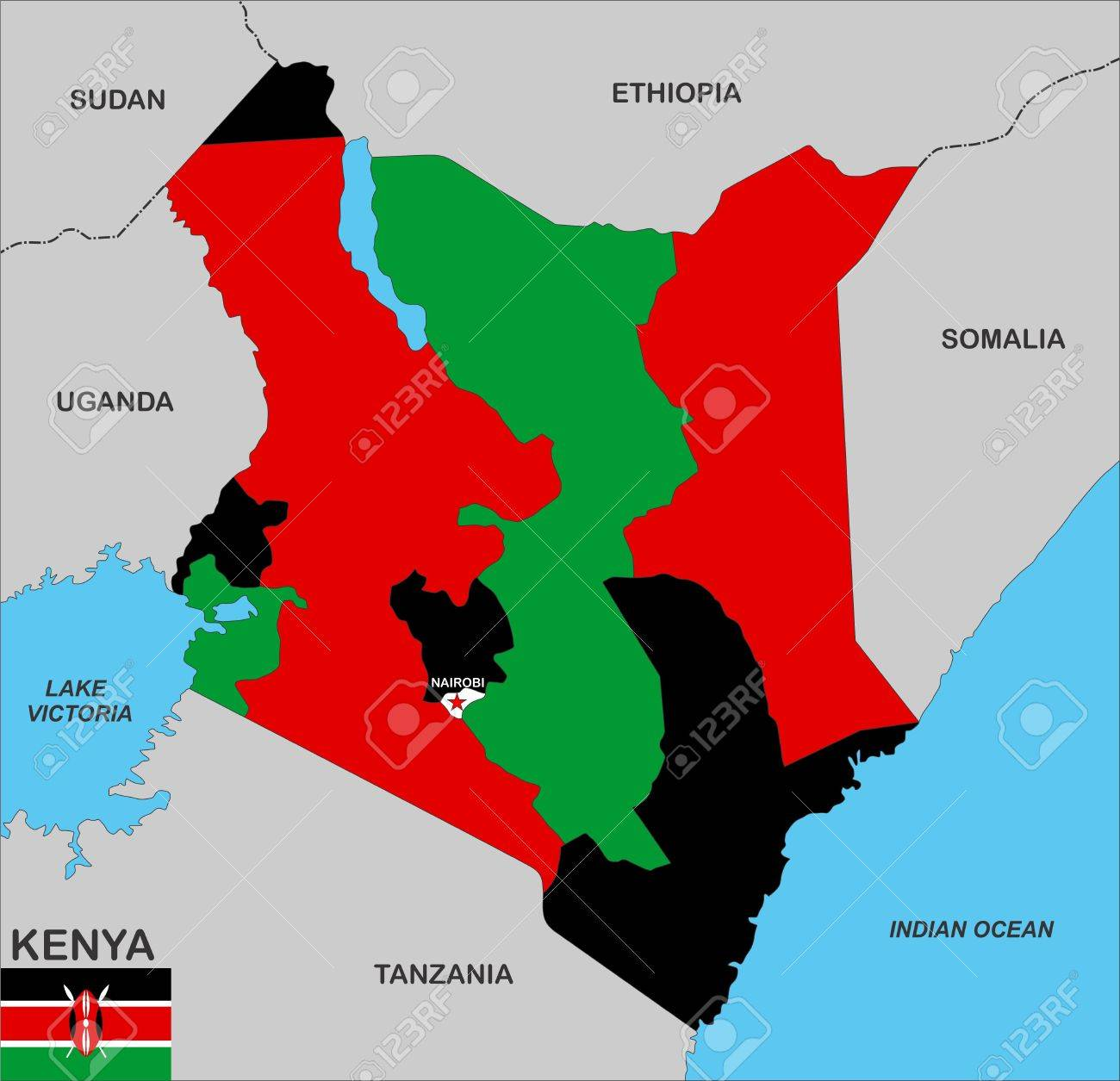 Very Big Size Kenya Country Political Map Stock Photo Picture And