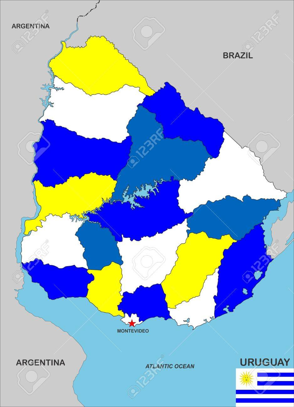 Very Big Size Uruguay Country Political Map Stock Photo Picture And