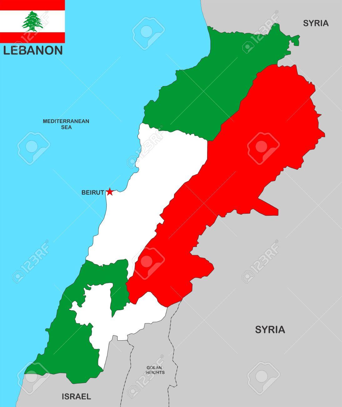 Very Big Size Lebanon Political Map Illustration Stock Photo
