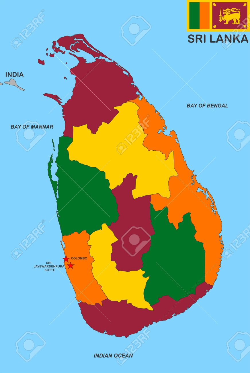 Sri Lanka Political Map.Very Big Size Sri Lanka Political Map Illustration Stock Photo