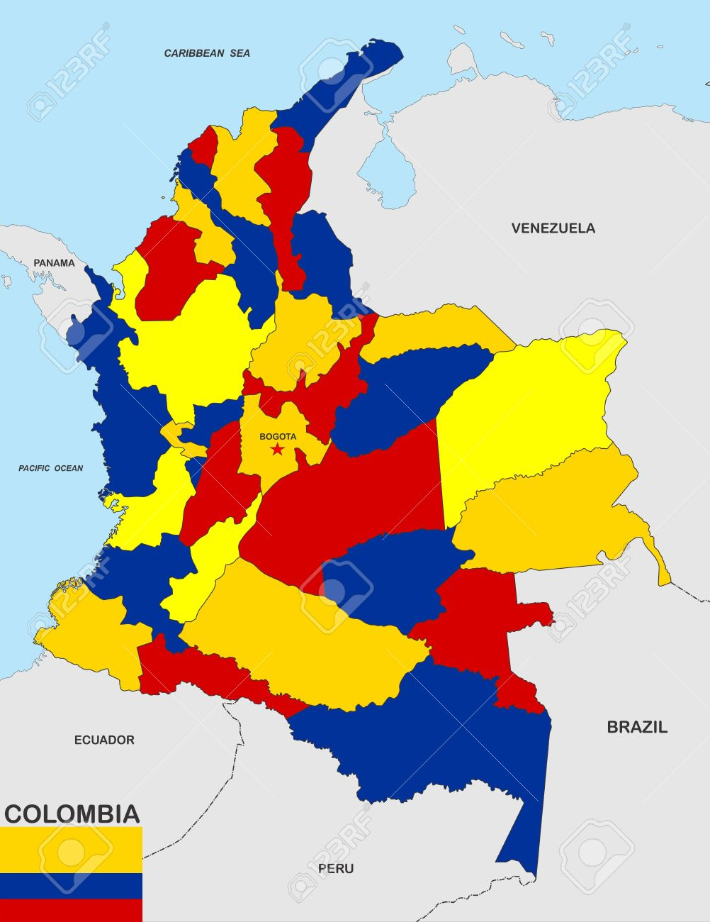 Very Big Size Colombia Political Map Illustration Stock Photo