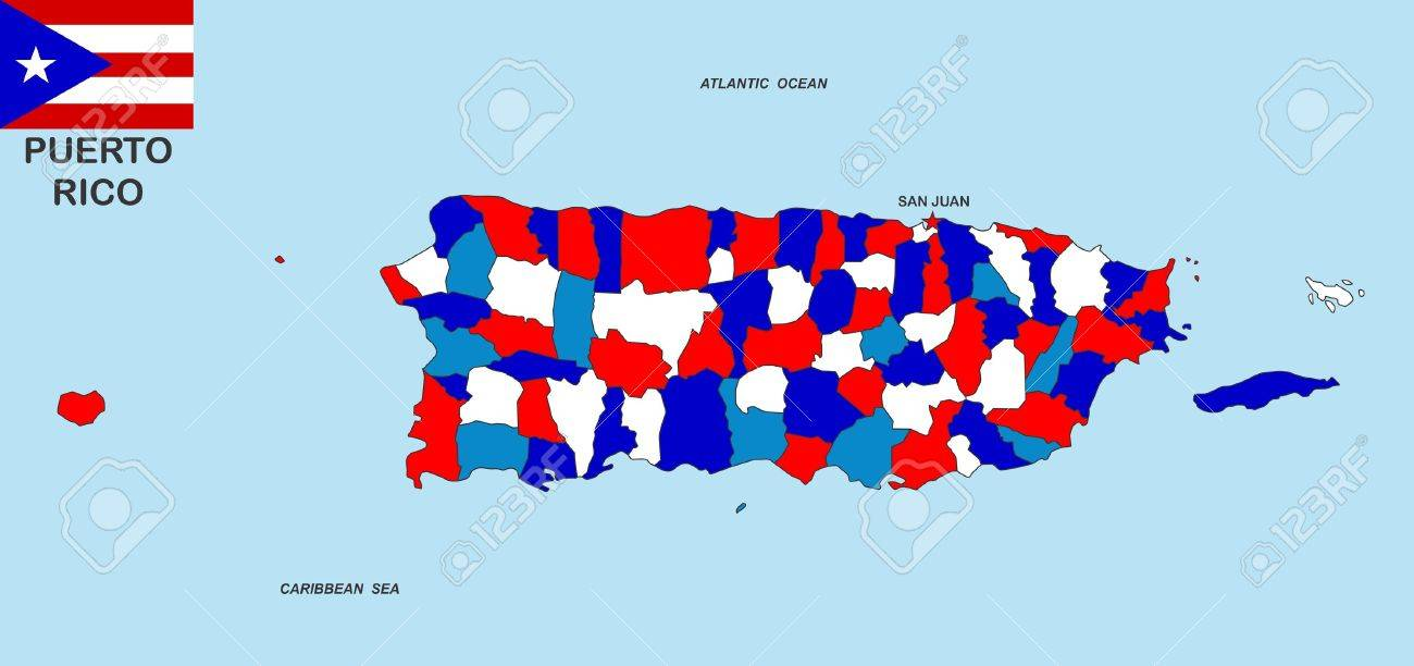 Very Big Size Puerto Rico Political Map Illustration Stock Photo