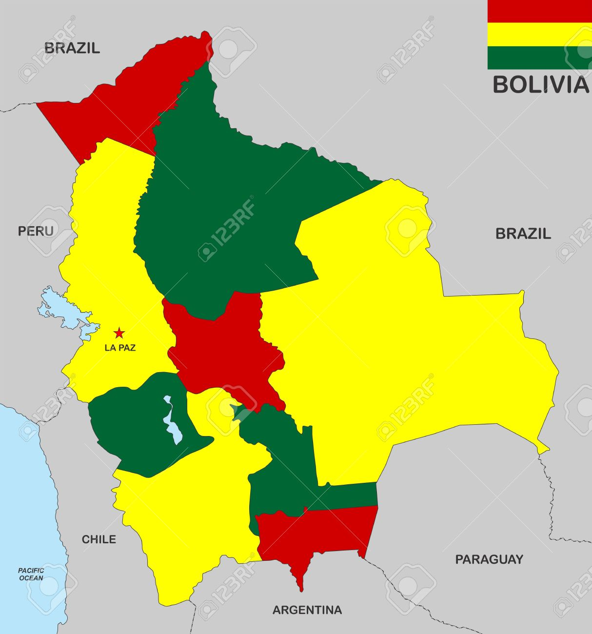 Very Big Size Bolivia Political Map With Flag Stock Photo Picture